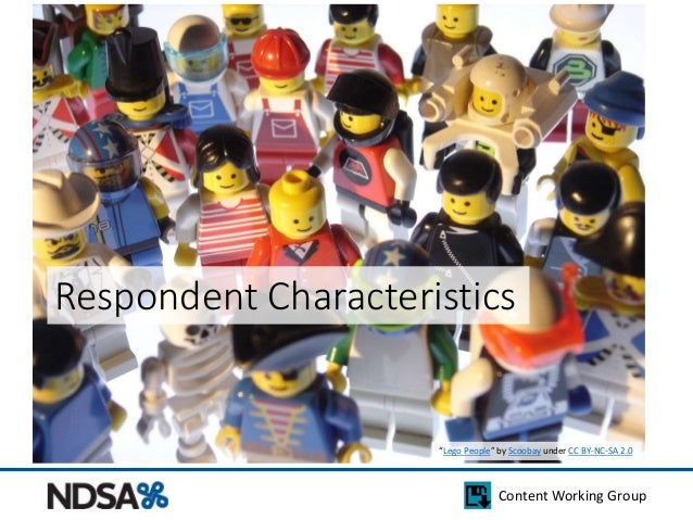 """Respondent Characteristics  """"Lego People"""" by Scoobay under CC BY-NC-SA 2.0  Content Working Group"""