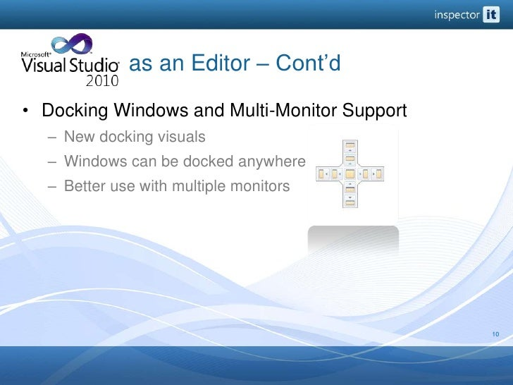 as an Editor – Cont'd<br />Docking Windows and Multi-Monitor Support<br />New docking visuals<br />Window...