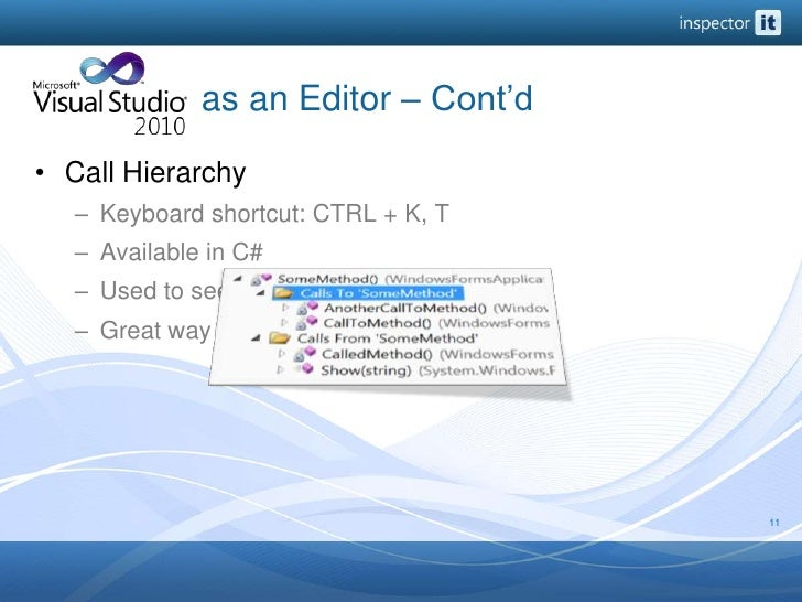 as an Editor – Cont'd<br />Call Hierarchy<br />Keyboard shortcut: CTRL + K, T<br />Available in C#<br />U...