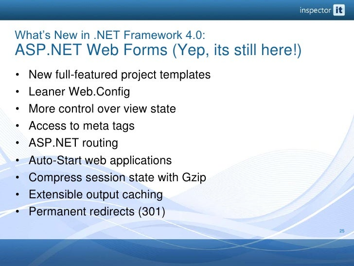 What's New in .NET Framework 4.0: ASP.NET Web Forms (Yep, its still here!)<br />New full-featured project templates<br />L...