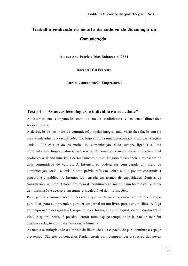 Instituto Superior Miguel Torga        2009        Trabalho realizado no âmbito da cadeira de Sociologia da               ...