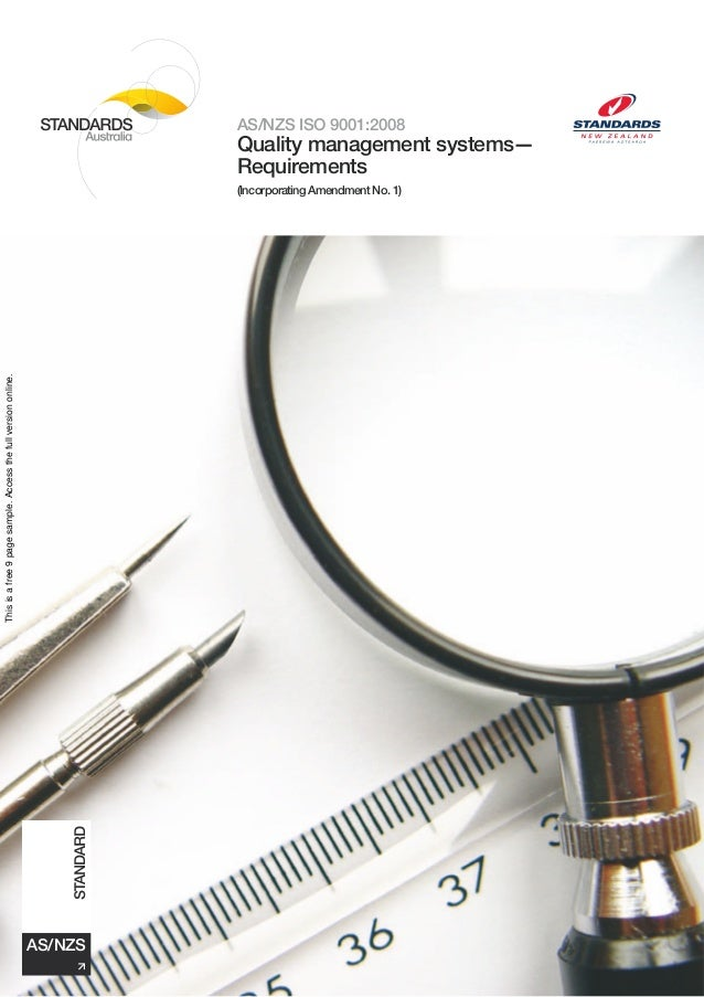 AS/NZS ISO 9001:2008                                                                         Quality management systems—  ...