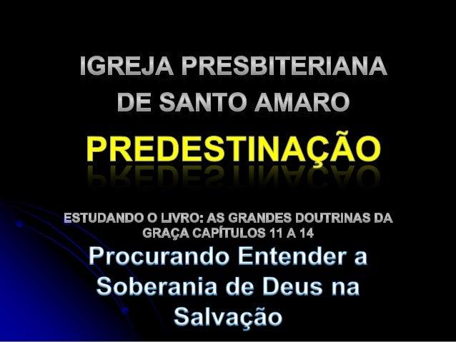Dificuldades na Compreensão da Doutrina da Predestinação  Nossa natureza pecaminosa leva à rejeição do conceito – queremo...