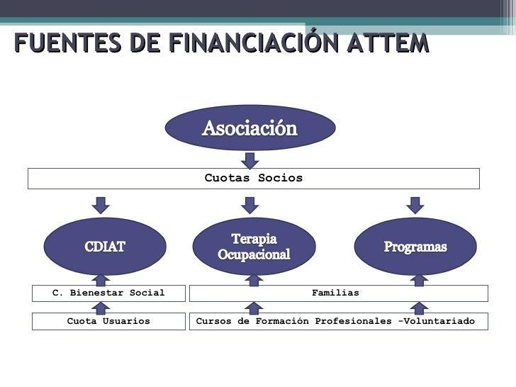 FUENTES DE FINANCIACIÓN ATTEM Cuotas Socios C. Bienestar Social Cuota Usuarios Familias  Cursos de Formación Profesionales...