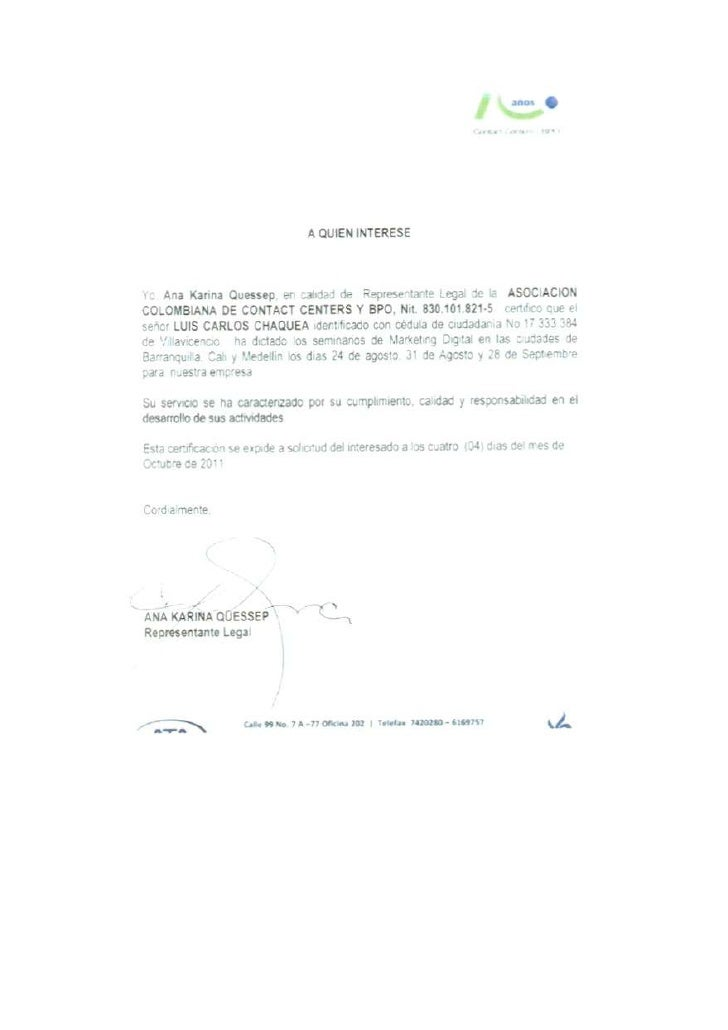 Asociación colombiana de contact center referencia luis carlos chaquea