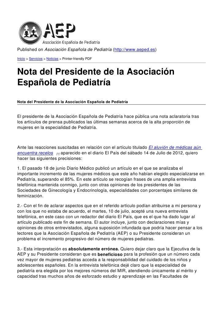 Published on Asociación Española de Pediatría (http://www.aeped.es)Inicio > Servicios > Noticias > Printer-friendly PDFNot...