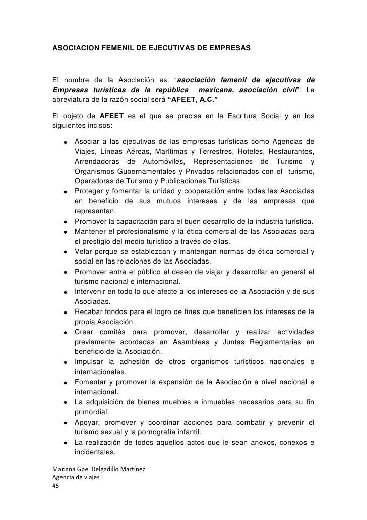 """ASOCIACION FEMENIL DE EJECUTIVAS DE EMPRESASEl nombre de la Asociación es: """"asociación femenil de ejecutivas deEmpresas tu..."""
