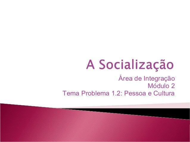 Área de Integração Módulo 2 Tema Problema 1.2: Pessoa e Cultura