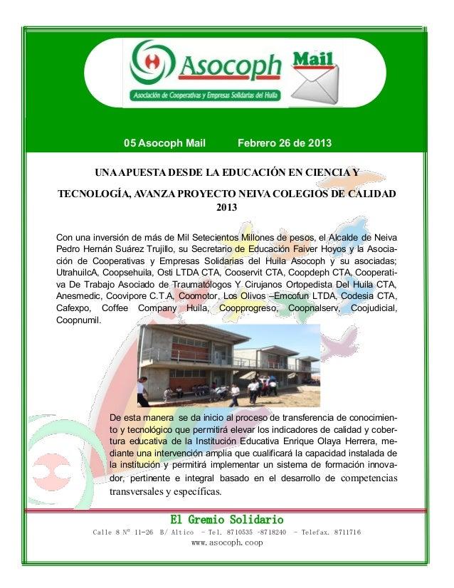 05 Asocoph Mail                 Febrero 26 de 2013         UNA APUESTA DESDE LA EDUCACIÓN EN CIENCIA YTECNOLOGÍA, AVANZA P...