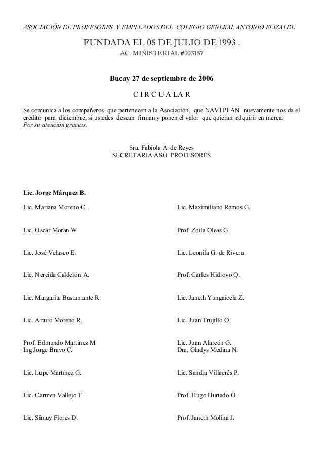 ASOCIACIÓN DE PROFESORES Y EMPLEADOS DEL COLEGIO GENERAL ANTONIO ELIZALDE  FUNDADA EL 05 DE JULIO DE 1993 . AC. MINISTERIA...