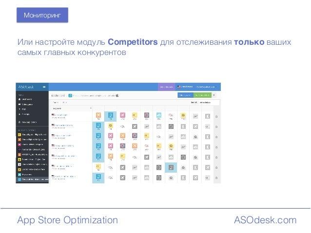 ASOdesk.comApp Store Optimization Мониторинг Или настройте модуль Competitors для отслеживания только ваших самых главных ...