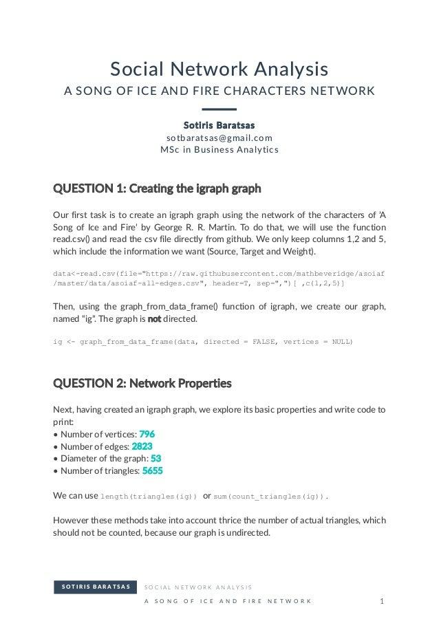 ASOIAF - Social Network Analysis
