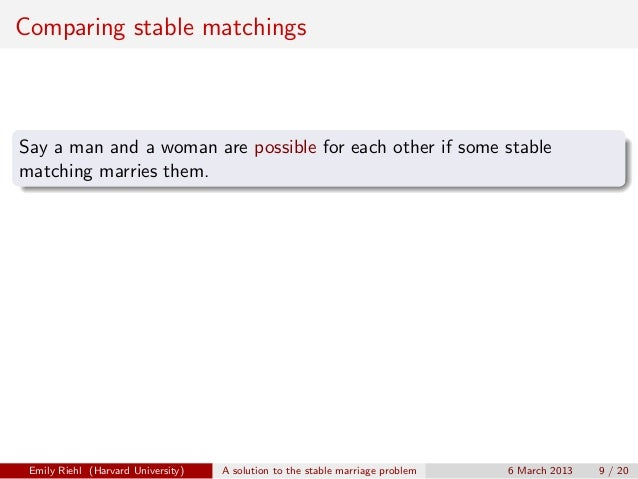 Stable marriage algorithm example for v