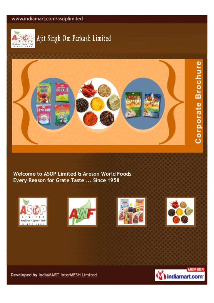Welcome to ASOP Limited & Aroson World FoodsEvery Reason for Grate Taste ... Since 1958