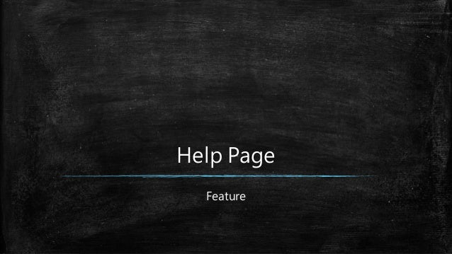 Help Page Feature