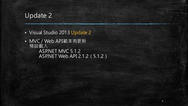 Update 2 ▪ Visual Studio 2013 Update 2 ▪ MVC / Web API範本有更新 預設載入 ASP.NET MVC 5.1.2 ASP.NET Web API 2.1.2(5.1.2) 8