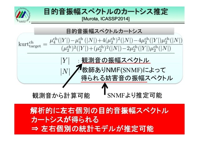 目的音振幅スペクトルのカートシス推定  [Murota, ICASSP2014]  14  目的音振幅スペクトルカートシス  : 観測音の振幅スペクトル  : 教師ありNMF(SNMF)によって  得られる妨害音の振幅スペクトル  観測音から計...