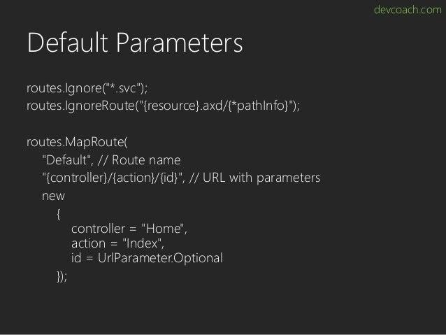 "devcoach.com Default Parameters routes.Ignore(""*.svc""); routes.IgnoreRoute(""{resource}.axd/{*pathInfo}""); routes.MapRoute(..."