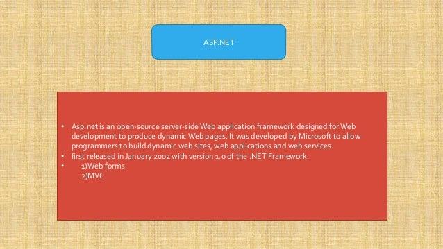 Asp Net And Net Framework Ppt Presentation