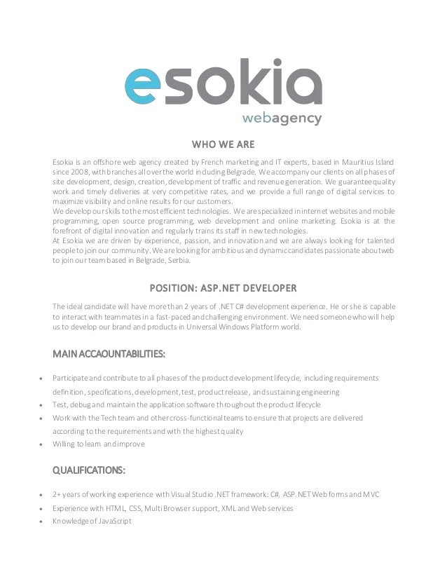 WHO WE ARE Esokia is an offshore web agency created by French marketing and IT experts, based in Mauritius Island since 20...