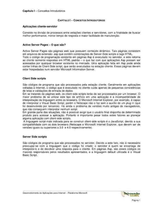Capitulo I — Cor-oeitos lntrodutorios  CAPlTULO   - Coucenos lmnoouromos Apllcagées cllcnte-scrvidor  Consists na diviséo ...