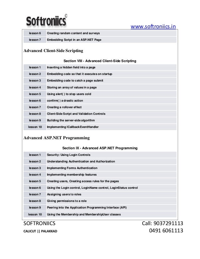Asp Net Certification Course Syllabus