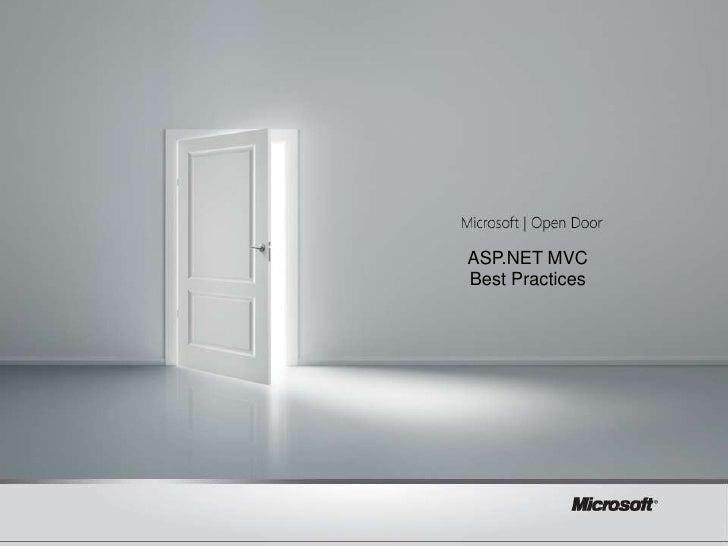 ASP.NET MVC  [TITLE]Best Practices