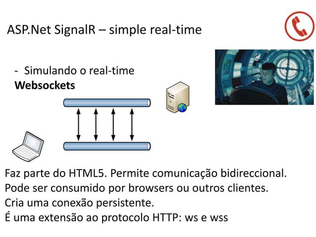 ASP.Net SignalR – simple real-time - Simulando o real-time Websockets Faz parte do HTML5. Permite comunicação bidirecciona...