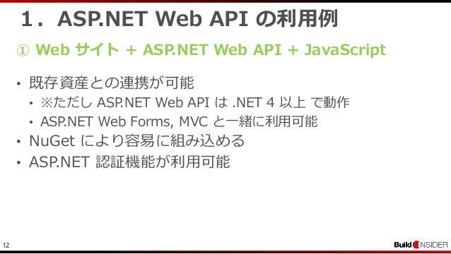 121.ASP.NET Web API の利用例• 既存資産との連携が可能• ※ただし ASP.NET Web API は .NET 4 以上 で動作• ASP.NET Web Forms, MVC と一緒に利用可能• NuGet により容易に...