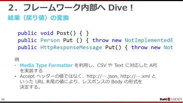 392.フレームワーク内部へ Dive !結果(戻り値)の変換例• Media Type Formatter を利用し、CSV や Text に対応した APIを実装する• Accept ヘッダーの値ではなく、http://….json, ht...