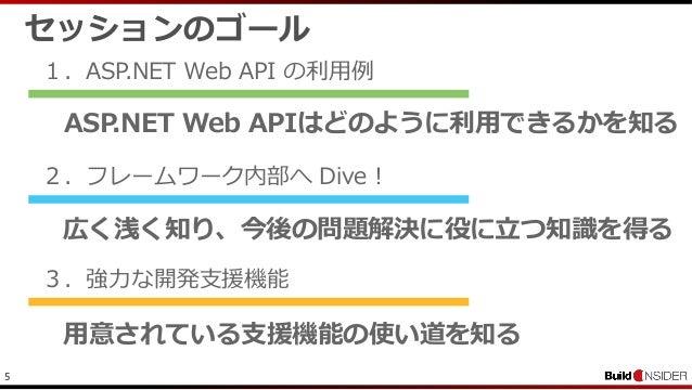 5セッションのゴール1.ASP.NET Web API の利用例2.フレームワーク内部へ Dive !3.強力な開発支援機能ASP.NET Web APIはどのように利用できるかを知る広く浅く知り、今後の問題解決に役に立つ知識を得る用意されてい...