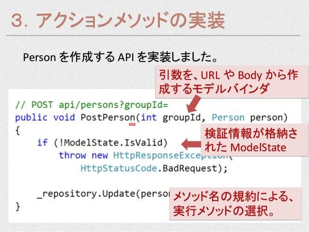 3.アクションメソッドの実装Person を作成する API を実装しました。                   引数を、URL や Body から作                   成するモデルバインダ                 ...
