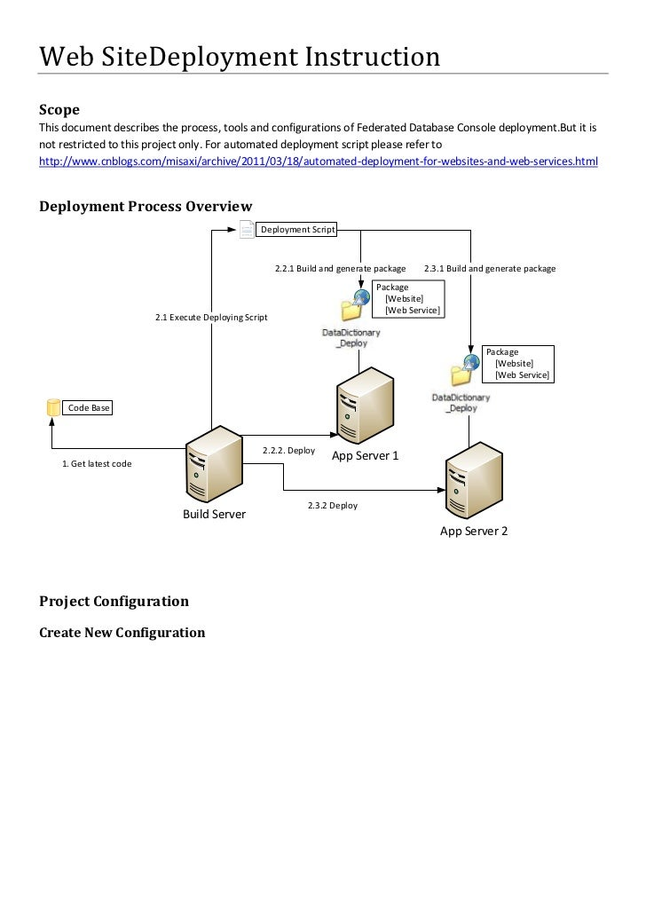 Web Site Deployment Instruction<br />Scope<br />This document describes the process, tools and configurations of Federated...