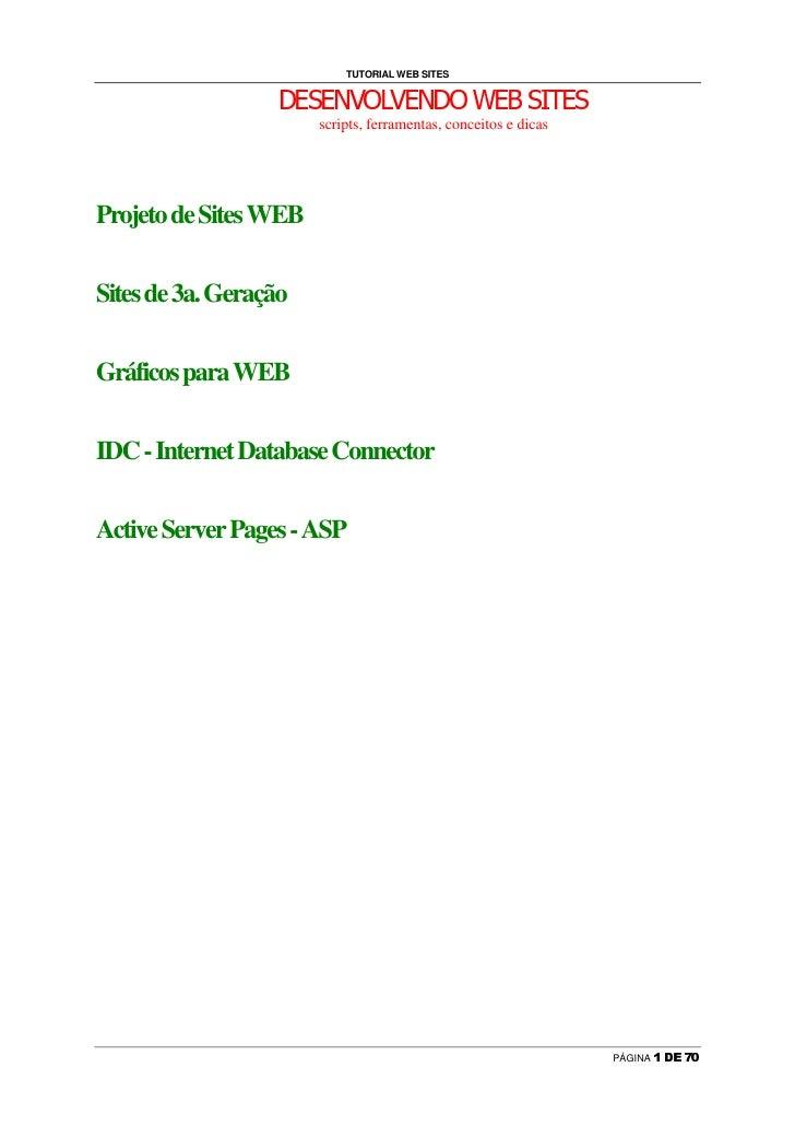 TUTORIAL WEB SITES                   ¥   ¦   §   ¦   ¨   ©         ©   ¦   ¨   ¥         ¦      §         ¦   §           ...