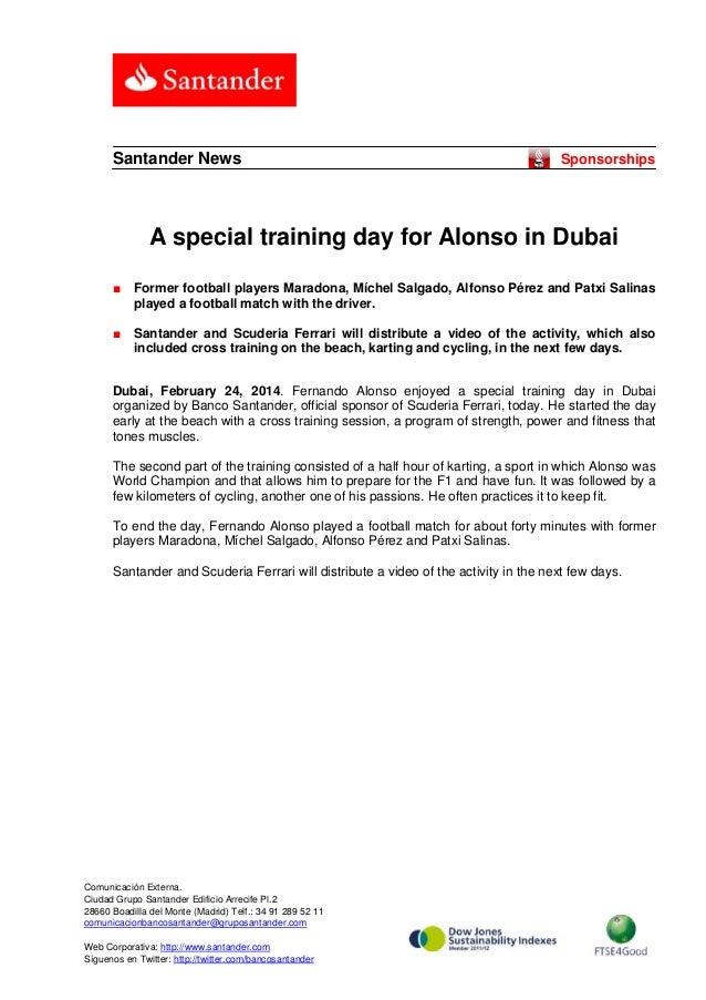 Santander News  Sponsorships  A special training day for Alonso in Dubai ■  Former football players Maradona, Míchel Salga...