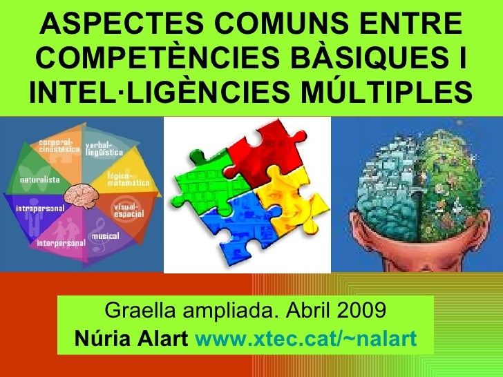 ASPECTES COMUNS ENTRE COMPETÈNCIES BÀSIQUES I INTEL·LIGÈNCIES MÚLTIPLES Graella ampliada. Abril 2009 Núria Alart  www.xtec...