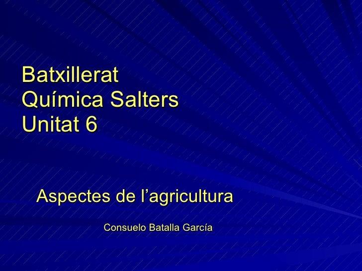 Batxillerat Química Salters Unitat 6 Aspectes de l'agricultura Consuelo Batalla García