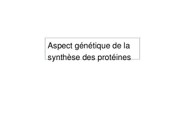 Aspect génétique de la synthèse des protéines
