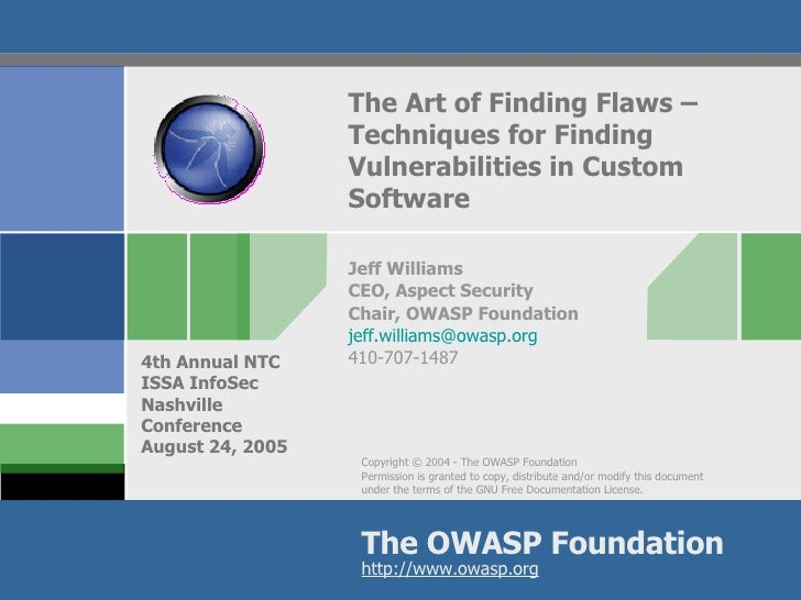 The Art of Finding Flaws –  Techniques for Finding Vulnerabilities in Custom Software Jeff Williams CEO, Aspect Security C...
