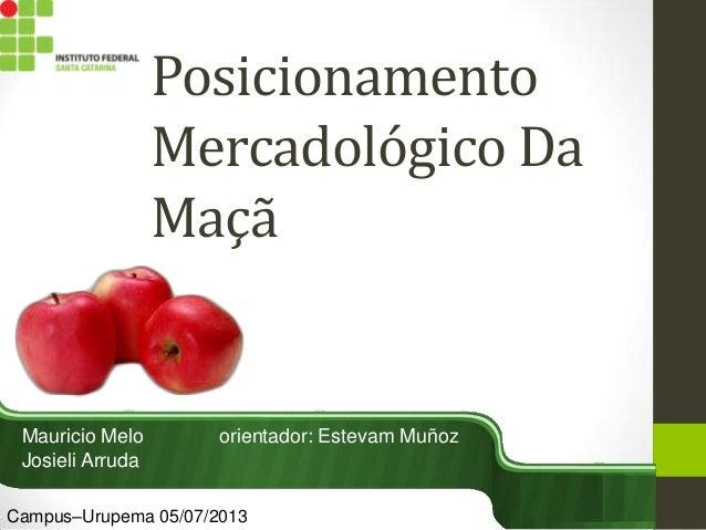 Posicionamento Mercadológico Da Maçã Mauricio Melo orientador: Estevam Muñoz Josieli Arruda Campus–Urupema 05/07/2013
