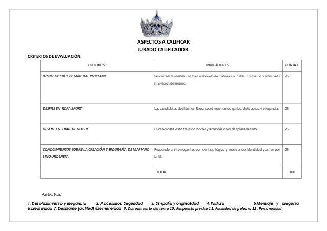 ASPECTOS A CALIFICAR JURADO CALIFICADOR. CRITERIOS DE EVALUACIÓN: CRITERIOS INDICADORES PUNTAJE DESFILE EN TRAJE DE MATERI...