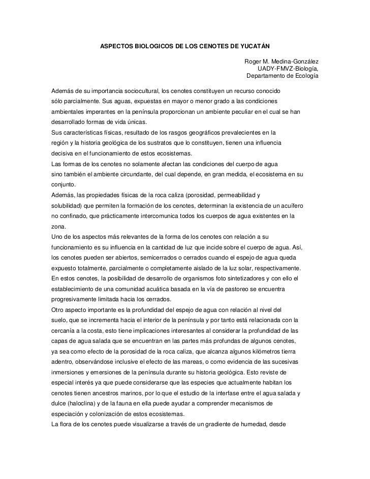 ASPECTOS BIOLOGICOS DE LOS CENOTES DE YUCATÁN                                                                          Rog...