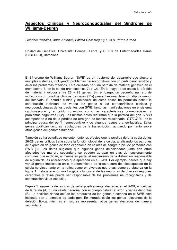 Palacios y colsAspectos Clínicos y Neuroconductuales del Síndrome deWilliams-BeurenGabriela Palacios, Anna Antonell, Fátim...