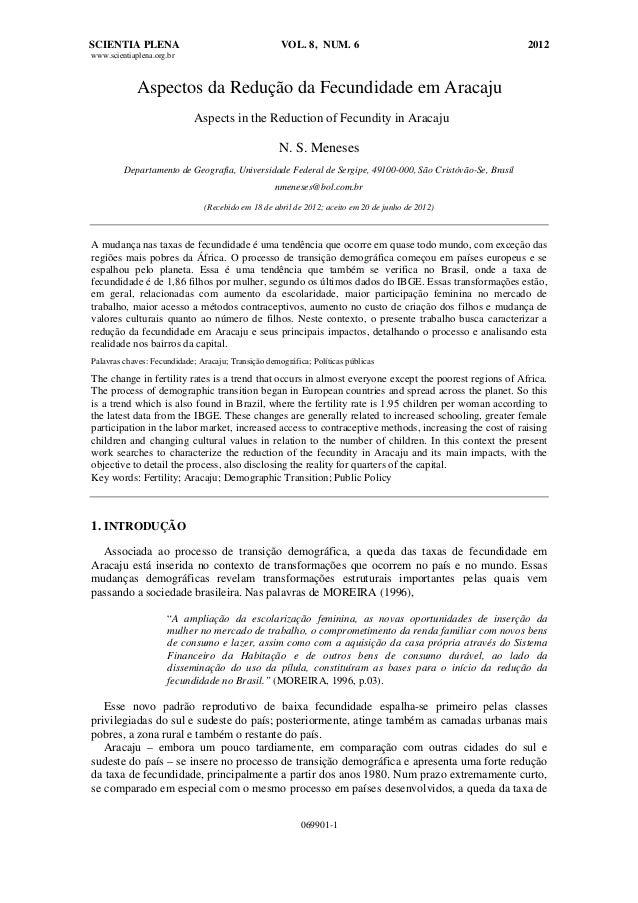 SCIENTIA PLENA VOL. 8, NUM. 6 2012 www.scientiaplena.org.br 069901-1 Aspectos da Redução da Fecundidade em Aracaju Aspects...