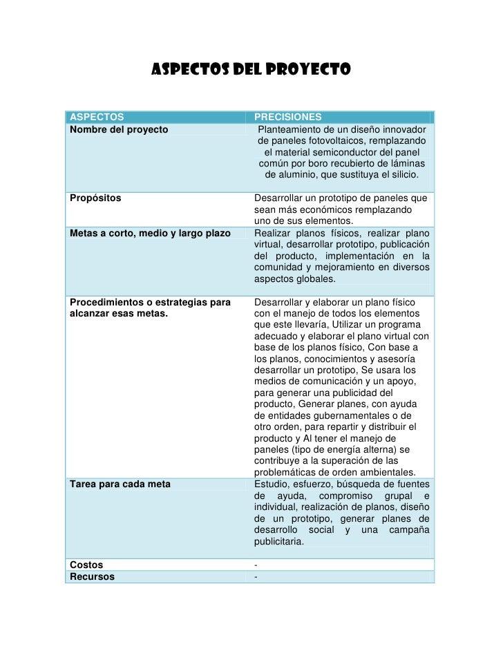 ASPECTOS DEL PROYECTOASPECTOS                             PRECISIONESNombre del proyecto                   Planteamiento d...