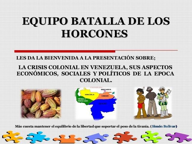 EQUIPO BATALLA DE LOS HORCONES LES DA LA BIENVENIDA A LA PRESENTACIÓN SOBRE;  LA CRISIS COLONIAL EN VENEZUELA, SUS ASPECTO...