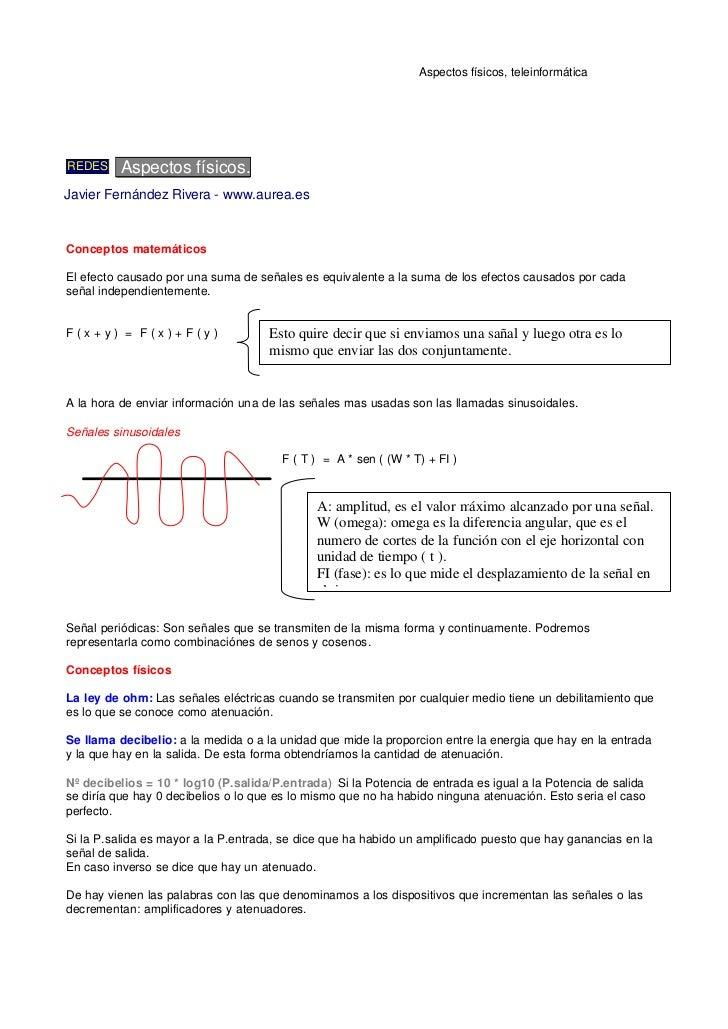 Aspectos físicos, teleinformáticaREDES     Aspectos físicos.Javier Fernández Rivera - www.aurea.esConceptos matemáticosEl ...