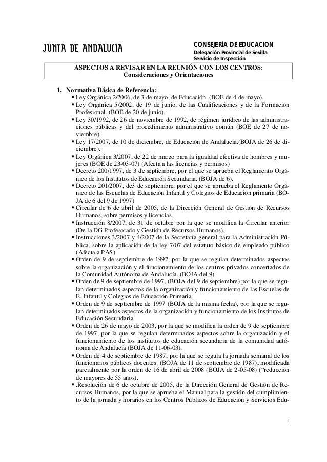 CONSEJERÍA DE EDUCACIÓN Delegación Provincial de Sevilla Servicio de Inspección 1 ASPECTOS A REVISAR EN LA REUNIÓN CON LOS...
