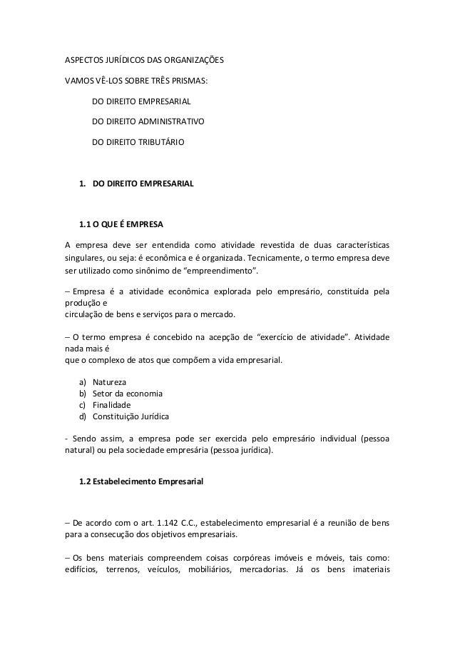 ASPECTOS JURÍDICOS DAS ORGANIZAÇÕESVAMOS VÊ-LOS SOBRE TRÊS PRISMAS:        DO DIREITO EMPRESARIAL        DO DIREITO ADMINI...