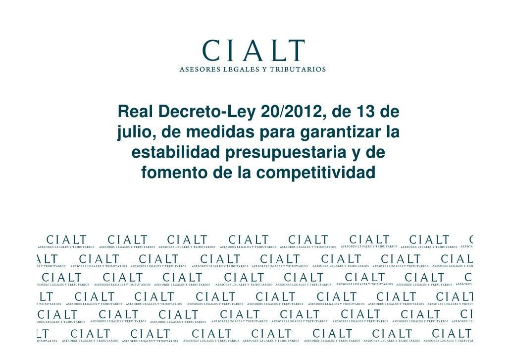 aspectos laborales real decreto ley 20 2012
